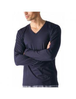 Mey V-neck shirt lange mouw blauw