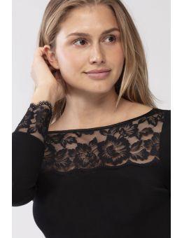 Mey Shirt met lange mouw en kant wol/zijde zwart