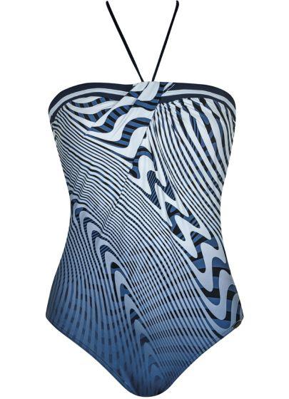 Sunflair Strapless badpak grafisch blauw/wit